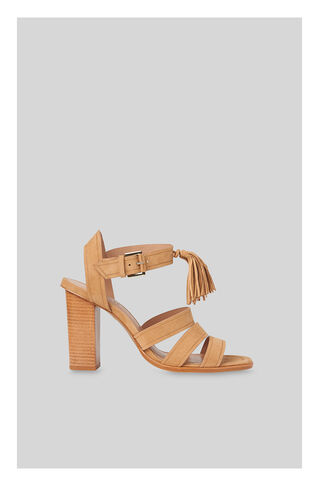 Maida Tassel High Block Sandal, in Tan on Whistles