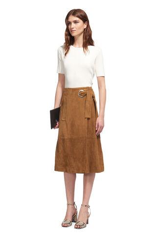 Lori Eyelet Suede Midi Skirt, in Tan on Whistles