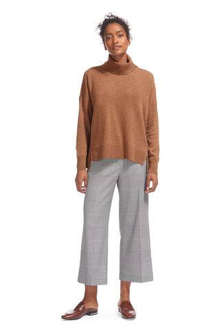 Cashmere Rib Back Roll Neck, in Camel on Whistles