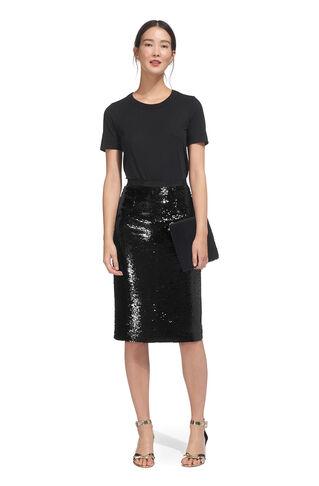 Sequin Pencil Skirt, in Black on Whistles