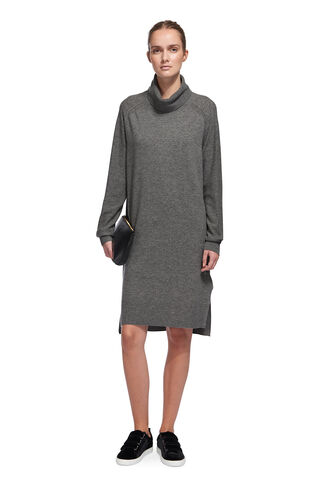 Cowl Neck Casual Knit Dress, in Grey Marl on Whistles
