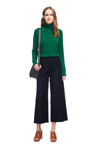 Tia Cotton Cropped Trouser, in Navy on Whistles