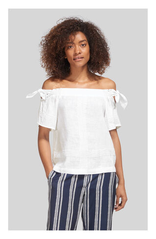 Lila Tie Linen Bardot Top, in White on Whistles