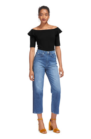 Frill Shoulder Bardot Top, in Black on Whistles