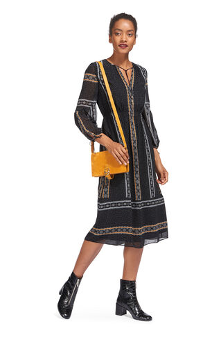 Scarf Print Midi Dress, in Black/Multi on Whistles