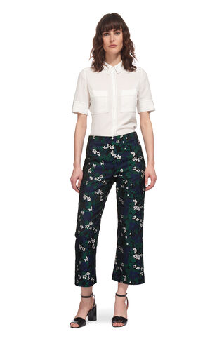 Jacquard Pansy Print Trouser, in Navy on Whistles