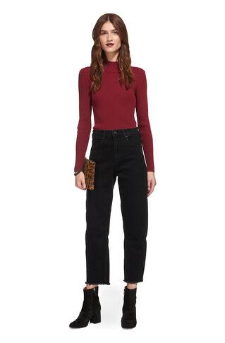 High Waist Straight Leg Jean, in Black on Whistles
