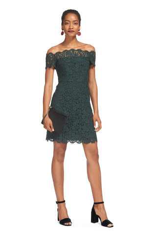 Off Shoulder Short Lace Dress, in Dark Green on Whistles