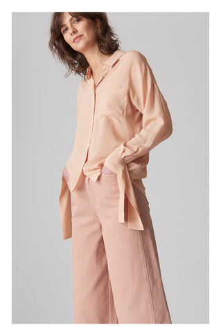 Tie Sleeve Silk Shirt, in Pale Pink on Whistles