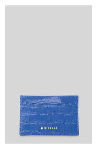 Sea Blue Croc Cardholder, in Blue on Whistles