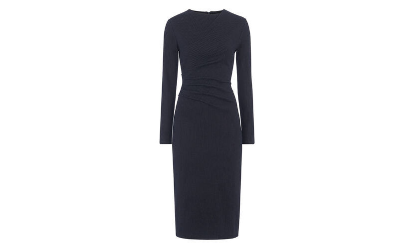 Drew Pinstripe Jersey Dress, in Navy on Whistles