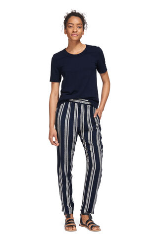 Stripe Printed Trouser, in Navy on Whistles