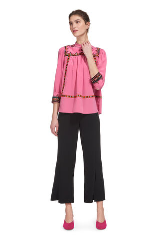 Avery Embroidery Silk Top, in Pink/Multi on Whistles