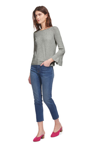Frill Wide Sleeve Knit, in Grey Marl on Whistles