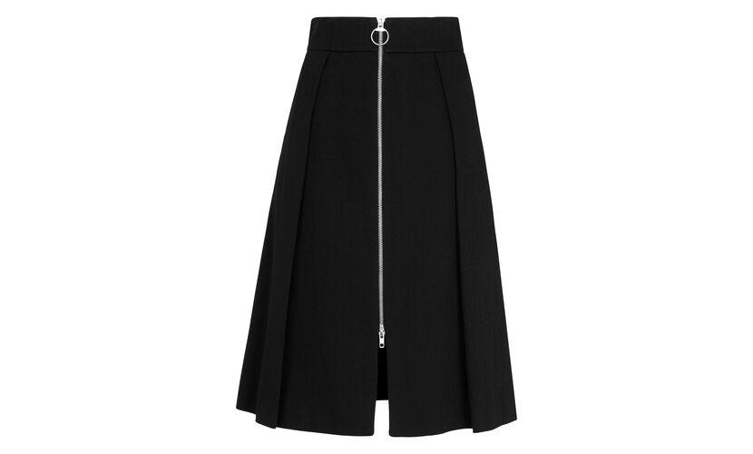 Zip Through Skirt, in Black on Whistles