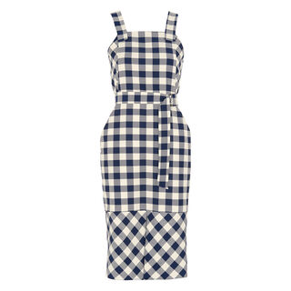 Gita Apron Check Dress, in Blue/Multi on Whistles