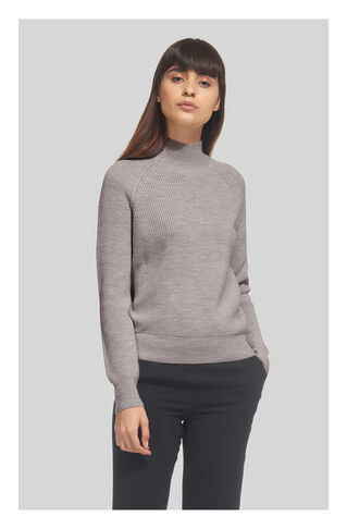 Rib Polo Neck Knit, in Grey Marl on Whistles
