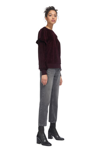 Velour Frill Sleeve Sweatshirt, in Burgundy on Whistles