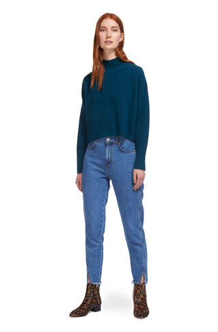 Cropped Funnel Neck Knit, in Sapphire Blue on Whistles