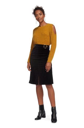Double Buckle Velvet Skirt, in Black on Whistles