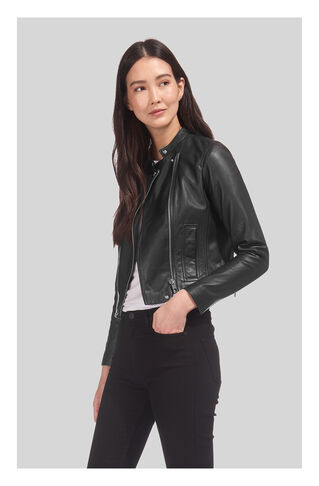 Clean Collarless Leather, in Black on Whistles
