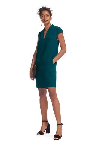 Paige V Neck Crepe Dress, in Mineral Green on Whistles