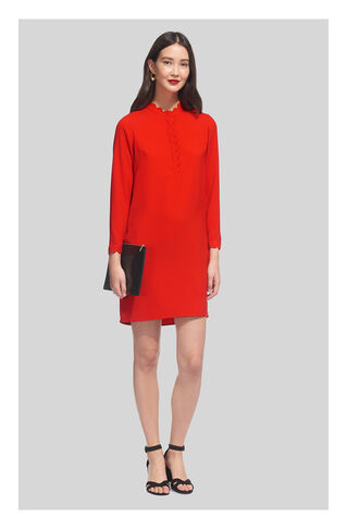 Scalloped Collar Crepe Dress, in Red on Whistles