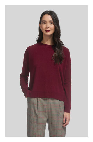 Rib Neck Detail Cashmere Crew, in Red on Whistles