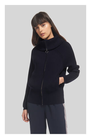 Zip Front Funnel Neck Cardigan, in Navy on Whistles