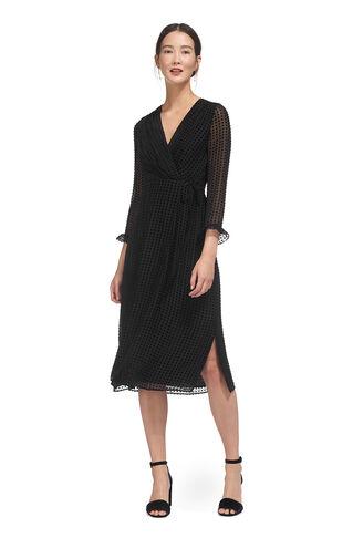 Venus Velvet Spot Wrap Dress, in Black on Whistles