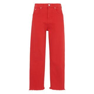 High Waist Barrel Leg Jean, in Red on Whistles