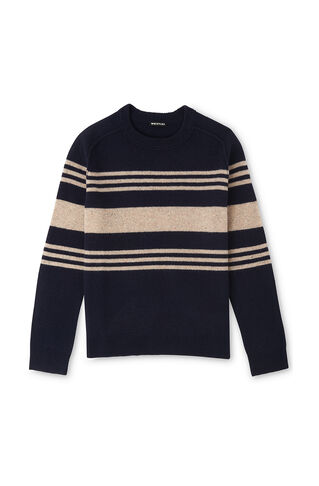 Textured Striped Sweater, in Navy on Whistles
