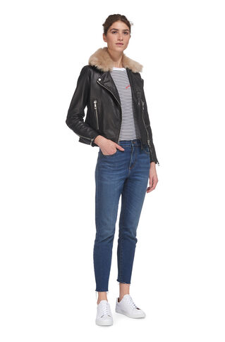 Toscana Collar Leather Jacket, in Black on Whistles