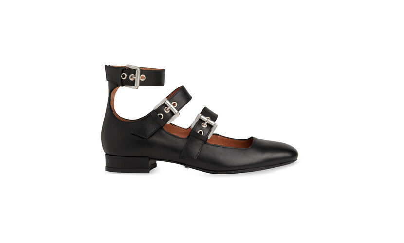 Josie Multi Buckle Shoe, in Black on Whistles