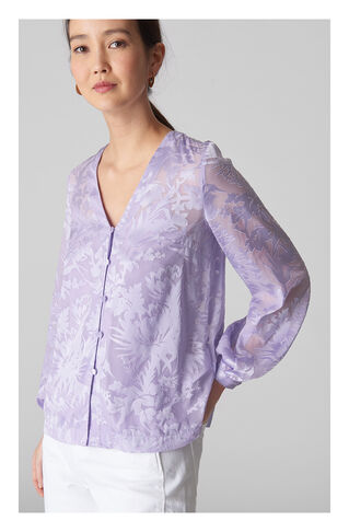 Tie Neck Devore Top, in Lilac on Whistles