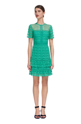 Indira Lace Ruffle Dress, in Turquoise on Whistles