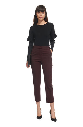 Wool Flannel Slim Leg Trouser, in Burgundy on Whistles