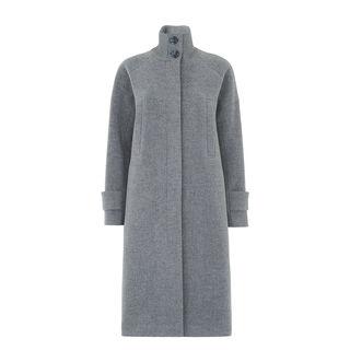 Rib Funnel Neck Coat, in Grey on Whistles