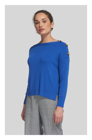 Side Button Relaxed Knit, in Blue on Whistles