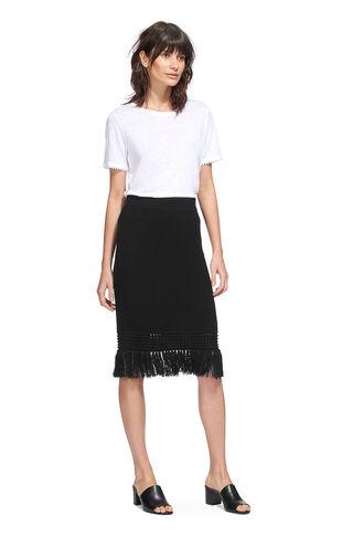 Fringe Hem Cotton Knit Skirt, in Black on Whistles