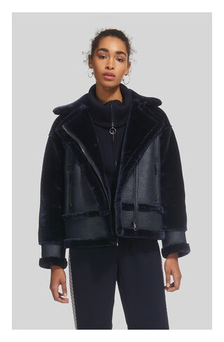 Mix Faux Fur Biker Jacket, in Navy on Whistles