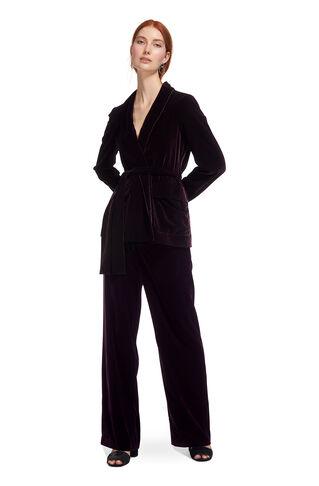 Velvet Tie Wrap Jacket, in Fig on Whistles