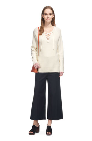 Slouchy Lace Up Neck Rib Knit, in Ivory on Whistles