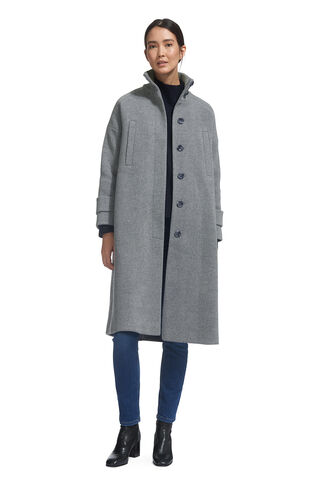 Rib Funnel Neck Coat, in Grey on Whistles