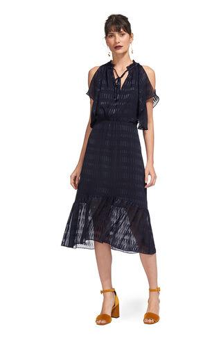 Tina Dobby Midi Dress, in Navy on Whistles