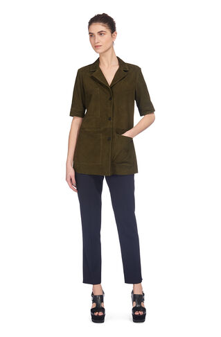 Griffin Suede Leather Shirt, in Khaki on Whistles
