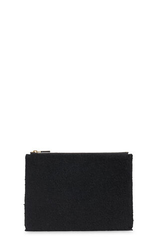 Black Shearling Medium Clutch, in Black on Whistles
