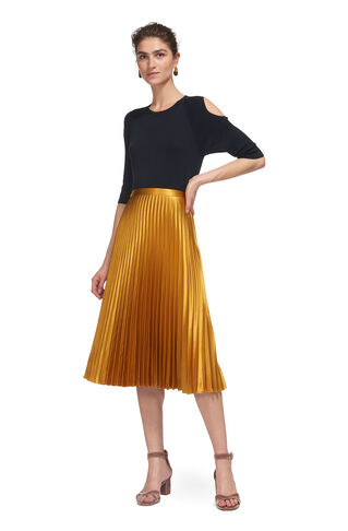 Satin Pleated Skirt, in Yellow on Whistles