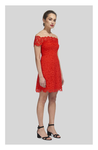 Off Shoulder Lace Dress, in Red on Whistles