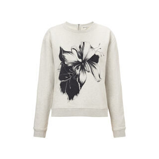 Placement Floral Print Sweat, in Pale Grey on Whistles